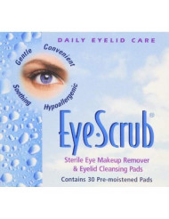 Eye Scrub Sterile Eye Makeup Remover & Eyelid Cleansing Individually Wrapped Pre-moistened Pads, 30 Count (Pack of 4)