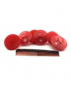 """GBS 6 Pack Shampoo Scalp Massage Brush Made in USA with 7"""" all purpose Comb promotes Healthy Hair Gently exfoliates Scalp and Hair growth Long Wavy straight Curly Men Women Kids Boys & Girls"""