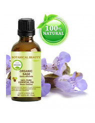 SAGE ORGANIC Essential Oil. 100% Pure Therapeutic Grade, Premium Quality, Undiluted. 0.33 Fl.oz.- 10 ml. by Botanical Beauty.