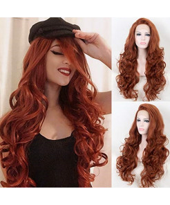 K'ryssma #350 Body Wave Half Hand Tied Lace Front Wigs Heat Resistant Copper Red Long Synthetic Hair Wig 18 Inches