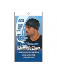 WaveBuilder Stretch Cap | Breathable Cool and Comfortable Fabric for Smooth Hair Waves, Black