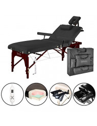 "Master Massage 31"" Montclair Salon Spa Beauty Therma Top Best Portable Massage Table Bed Couch Package with Deluxe Adjustable Headrest- Black Color WITH MEMORY FOAM"