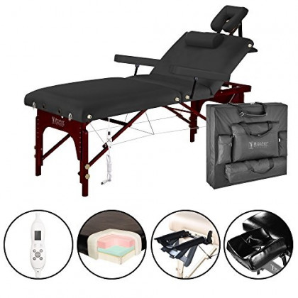 """Master Massage 31"""" Montclair Salon Spa Beauty Therma Top Best Portable Massage Table Bed Couch Package with Deluxe Adjustable Headrest- Black Color WITH MEMORY FOAM"""
