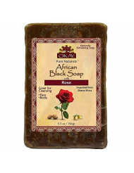 OKAY | African Black Soap with Rose | For All Skin Types | Cleanses and Exfoliates | Nourishes and Heals | Free of Sulfate, Silicone & Paraben | 5.5 oz