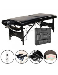 "Master Massage 30"" Galaxy Therma-Top Portable Massage Table Package, Black, Adjustable Heated Top"