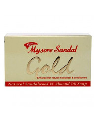 Mysore Sandal Gold Soap, 125 Grams Per Unit (Pack of 4) - Purest Sandalwood Soap - Grade 1 Soap - TFM 80% - Suitable for ALL Skin Type - Zero Dryness - Natural Sandalwood & Almond Oil Soap