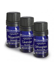 SpaRoom 100% Therapeutic Grade Essential Oil Everyday Sensory 3-Pack (Lavender/Lemongrass/Peppermint), 10ml