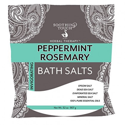 Soothing Touch Peppermint Rosemary Invigorating Bath Salts Pouch 32 Oz