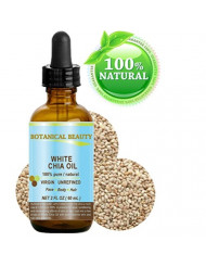 """WHITE CHIA OIL. 100% Pure/Natural Cold Pressed Carrier Oil. 2 fl.oz-60 ml. For Skin, Hair, Lip and Nail Care. """"A remarkable and stable source of omega-3, 6 & 9, B-vitamins and minerals"""""""