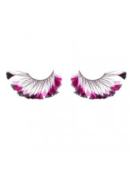 Zinkcolor Black and Pink Feather Tip False Eyelashes F247 Dance Halloween Costume