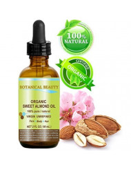 ORGANIC SWEET ALMOND OIL 100% Pure/Virgin/Unrefined Cold Pressed Carrier Oil. 2 oz-60 ml. For Face, Hair and Body.