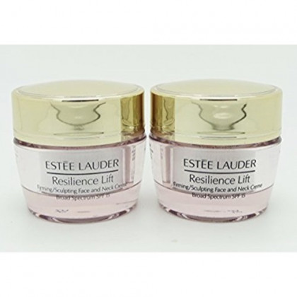 Lot of 2 x Estee Lauder Resilience Multi-Effect Tri-Peptide Face and Neck Creme SPF 15, 0.5 oz / 15ml each, Travel Size Unboxed