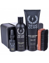 ZEUS Deluxe Beard Grooming Kit for Men - Beard Care Gift Set to Soften Hairs and Prevent Itchiness and Dandruff (Scent: Vanilla Rum)
