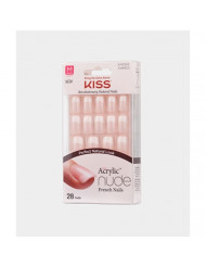 Kiss Salon Acrylic Nude French Nails 28 Count (Cashmere) (3 Pack)