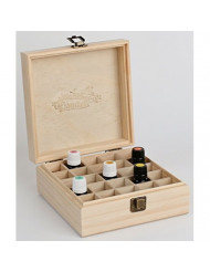 Plant Therapy Wooden Essential Oil Box with Generic Modern Logo- Holds 25 Bottles Size 5-15 mL