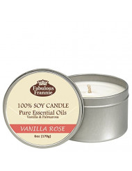 Fabulous Frannie Vanilla Rose 100% Pure & Natural Soy Candle 6 oz