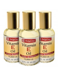 De La Cruz Vitamin E Oil 15,000 IU, No Preservatives, Artificial Colors or Fragrances, Made in USA 2.2 FL. OZ. (3 Bottles)