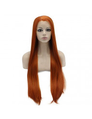 Mxangel Long Straight Half Hand Tied Reddish Blond Synthetic Lace Front Wig Natural