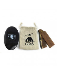GBS Mens Hair Care Set - Wood Style Folding Comb All Fine + Black Wood Beard Brush Synthetic Bristle + Pouch Promotes Hair Growth Naturally Use for Head Hair or Beard. Made w/Natural Wood
