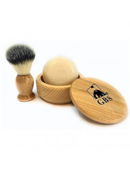 GBS Men's Wet Shave Kit Beech Wood Set - Synthetic Hair Bristle Shave Brush + Beech Wood Shaving Soap Bowl Cup w/Lid Cover + Natural Shave Soap Compliments Any Razor + Create a Great Lather