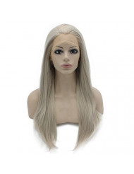 Mxangel Long Straight Half Hand Tied Gray Blond Synthetic Lace Front Wig Natural