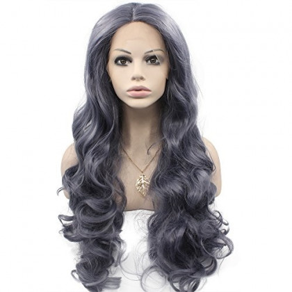 Mxangel Long Wavy High Temperature Synthetic Lace Front Dark Grey Wig Natural Half Hand Tied Wavy Wig