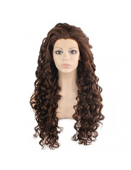 Mxangel Long Curly Lace Front Synthetic Wig Brown Heat Resistant Wig Natural