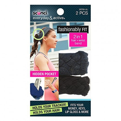 Scunci Fashionably Fit 2-In-1 Hair/Wrist Band, Metallic, 2 Count