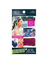 Scunci Fashionably Fit 2-In-1 Hair/Wrist Band, Blue/Berry, 2 Count