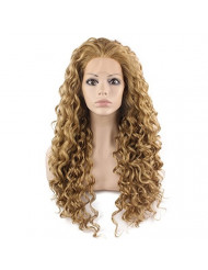 Mxangel Long Heat Resistant Synthetic Hair Celebrity Ash Blond Curly Lace Front Wig
