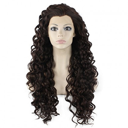 Mxangel Long Heat Resistant Synthetic Hair Highlight Brown Celebrity Stylish Curly Lace Front Wig