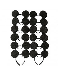 CHuangQi Mouse Ears Black Sequin Headband for Boys and Girls Birthday Party or Celebrations&Event (Pack of 12)