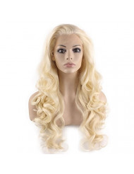 Mxangel Long Wavy Celebrity Half Hand Tied Synthetic Lace Front Light Blond Natural Wig