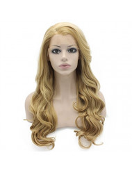 Mxangel Long Wavy Celebrity Synthetic Lace Front Half Hand Tied Heat Resistant Fiber Ash Blond Natural Wig