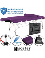 Master Massage Ultra Lightweight Calypso Aluminum Portable Massage Table Package, King's Purple, 30 inch, 25 Pound