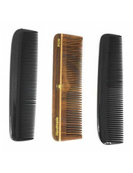 """GBS Hair Comb Variety 3 pack - 5"""" Wood, Black All Fine & Coarse"""