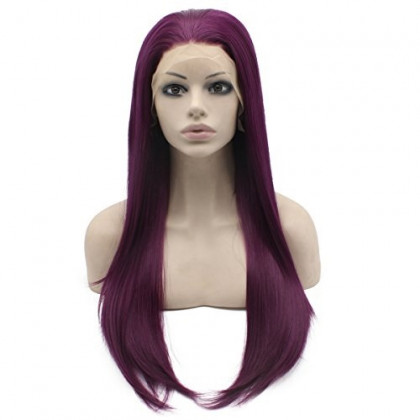 Mxangel Long Straight Celebrity Synthetic Lace Front Natural Purple Cosplay Party Wig