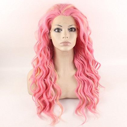 Mxangel Long Wavy Celebrity Lace Front Wig Half Hand Tied Heat Resistant Fiber Fashion Pink Synthetic Hair Wig