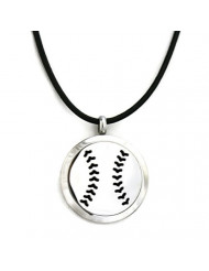 Baseball Boys Stainless Steel Essential Oil Diffuser Necklace-Black Leather- 18-20""