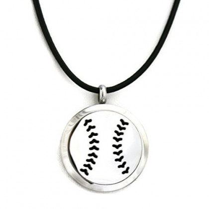 """Baseball Boys Stainless Steel Essential Oil Diffuser Necklace-Black Leather- 18-20"""""""