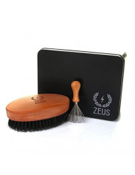 ZEUS 100% Firm Boar Bristle Beard Brush, Military-Style, Brush Gift Set with Brush Cleaner and Tin! (FIRM BRISTLES) - Q91