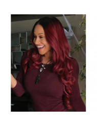 K'ryssma Ombre Wine Red Lace Front Wigs Synthetic, Dark Roots Burgundy Synthetic Wigs for Women Long Wavy Lace Wig Heat Resistant 24 Inch