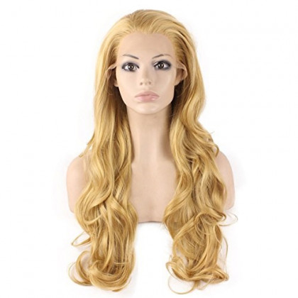Mxangel Long Wavy Celebrity Natural Hair Line Celebrity Synthetic Lace Front Blond Wig Natural