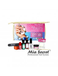 MIA SECRET PINK ACRYLIC POWDER PROFESSIONAL FULL NAIL KIT -Contents: Liquid Monomer, Pink Powder, Primer, Nail Glue, Top Coat, 20 Nail tips, Nail Brush, Emery Block, Nail File