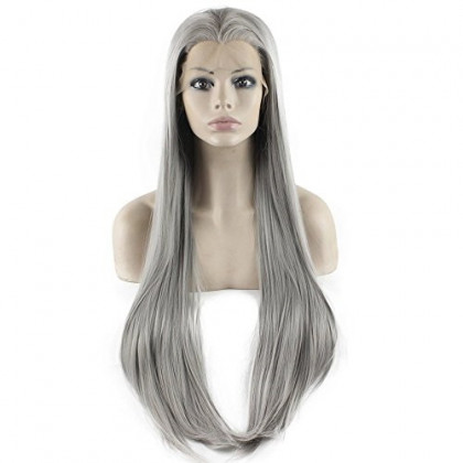 Mxangel Long Straight Lace Front Synthetic Hair Grey Wig Natural Hand Tied Heat Resistant Wig Grey