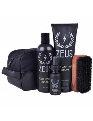 Zeus Deluxe Beard Care Dopp Kit - Men's Travel Beard Grooming Set with Toiletry Bag! (Scent: Sandalwood)