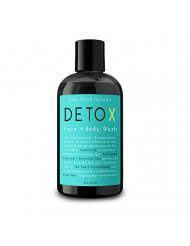 Safe House Naturals Detox Face and Body Wash, All Natural Skin Clearing Cleanser, Activated Charcoal + Organic Aloe for Congested Skin, Tea Tree + Clary Sage Fights Acne, Non Oily, For Men + Women