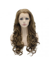Mxangel Long Wavy Heat Resistant Fiber Celebrity Half Hand Tied Synthetic Lace Front Gray Blond Wig Natural