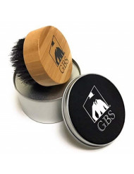 GBS Round Beard Brush - Premium Bamboo Compact Wood Brush With Firm Bristles To Tame and Soften Your Facial Hair - Comes with Travel Canister! Perfect for on-the-go use!