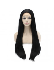 Mxangel Long Straight Lace Front Synthetic Hair Black Wig Natural Hand Tied Heat Resistant Lace Wig